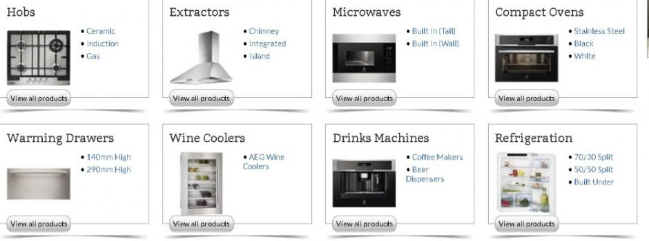 Hobs,Ovens,Refridgeration,Microwaves,Wine coolers,Extractors.